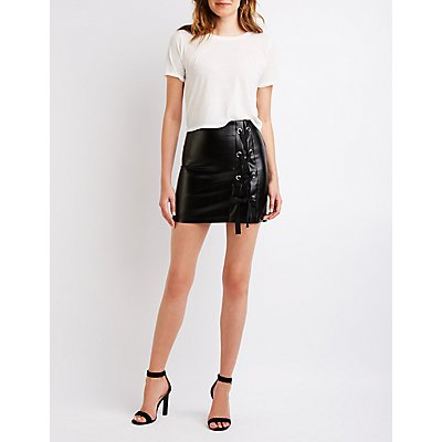 Lace Up Mini Skirt
