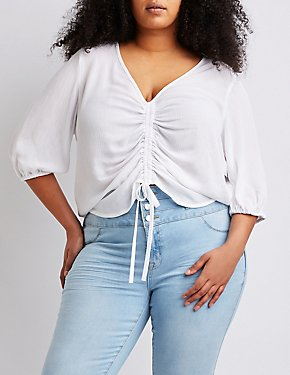 Plus Size Ruched V Neck Top