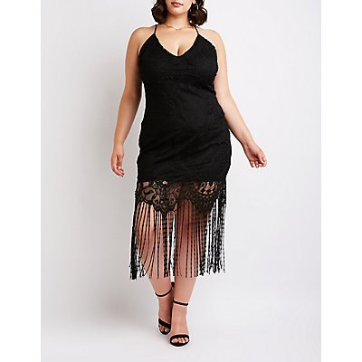 Plus Size Lace Fringe Bodycon Dress