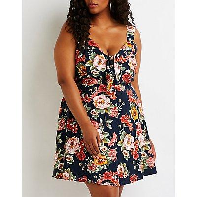 Plus Size Floral Tie Front Sun Dress