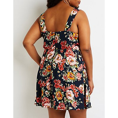 Plus Size Floral Tie Front Sun Dress