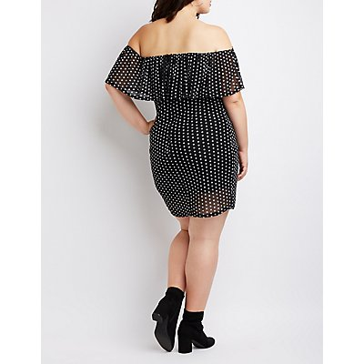Plus Size Polka Dot Off-The-Shoulder Bodycon Dress