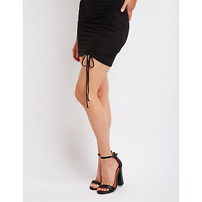 Ruched Ribbed Bodycon Dress