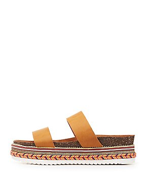 Bamboo Embroidered Platform Slide Sandals
