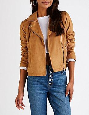 Faux Suede Moto Jacket