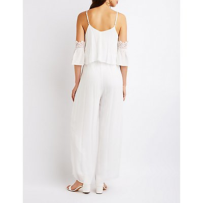 Crochet Trim Cold Shoulder Jumpsuit