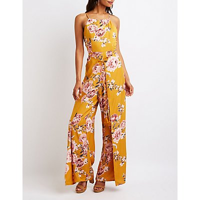 Floral Bib Neck Jumpsuit
