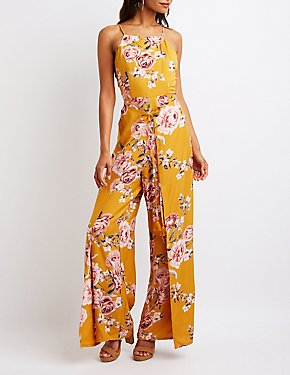 Floral Mock Neck Jumpsuit