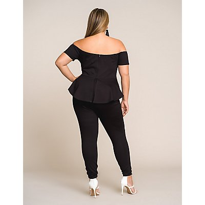 Plus Size Off The Shoulder Peplum Jumpsuit