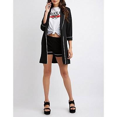 Piped Ponte Knit Longline Blazer