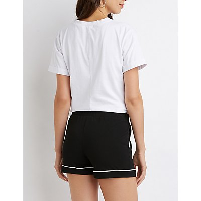 Piped Ponte Knit Shorts
