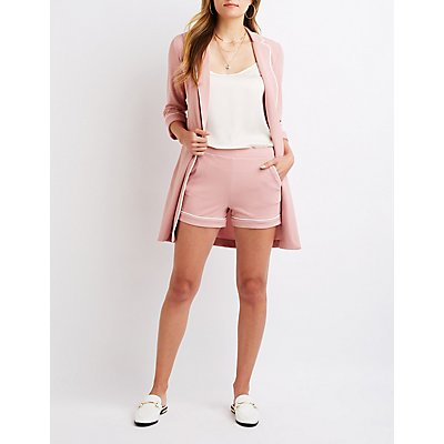 High-Rise Flat Front Shorts