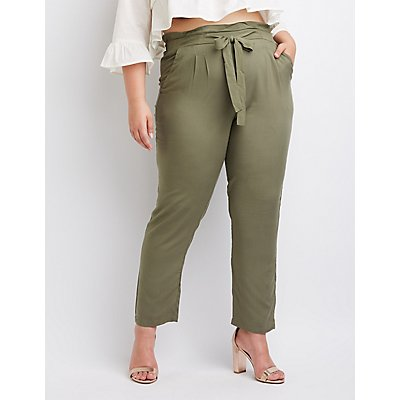 Plus Size Tie-Front Paperbag Trousers