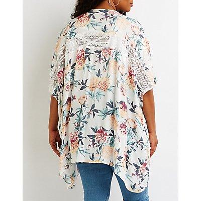 Plus Size Floral Crochet Trim Kimono