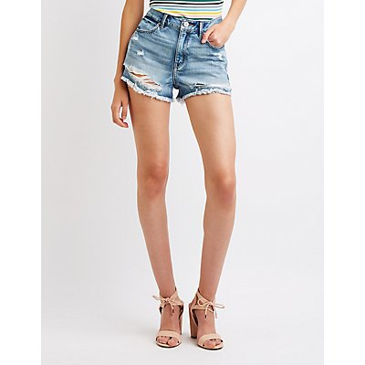 Refuge Destroyed Cheeky Denim Shorts