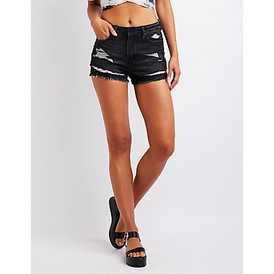 Refuge Destroyed Hi Rise Cheeky Shorts