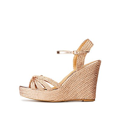 Metallic Braided Wedge Sandals