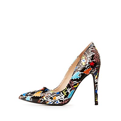 Graffiti Pointed Toe Pumps