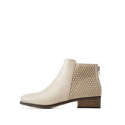 Bamboo Perforated Ankle Booties