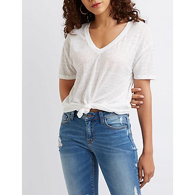 Space-Dye V-Neck Knotted Front Tee