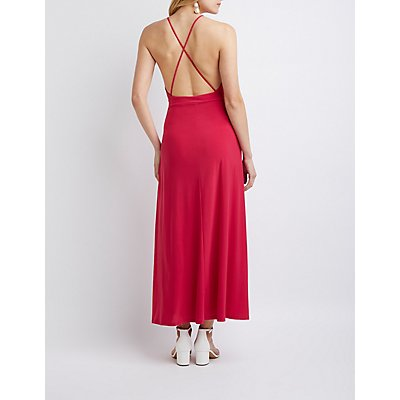 V Neck Wrap Maxi Dress