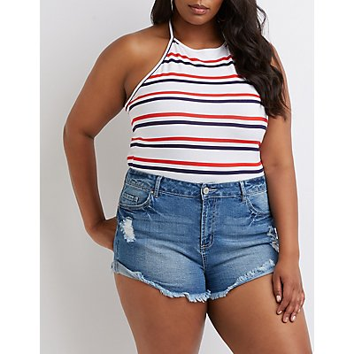Plus Size Striped Halter Top