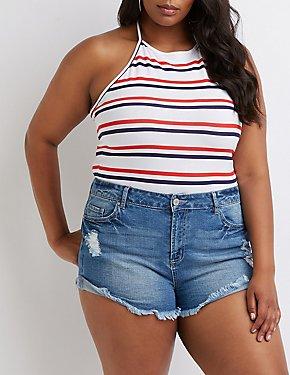 Plus Size Striped Halter Top