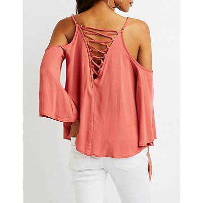 Crochet Lattice Cold Shoulder Top