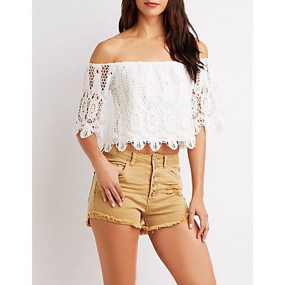 Crochet Off-The-Shoulder Crop Top