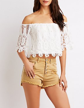 Crochet Off-The-Shoulder Cropped Top