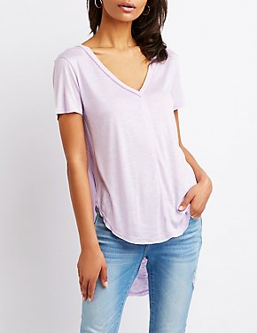 V Neck Hi Low Tee
