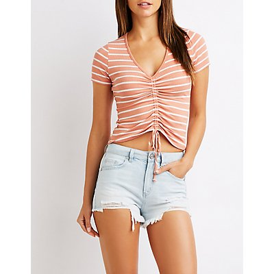 Ruched Ribbed Knit Skimmer Top