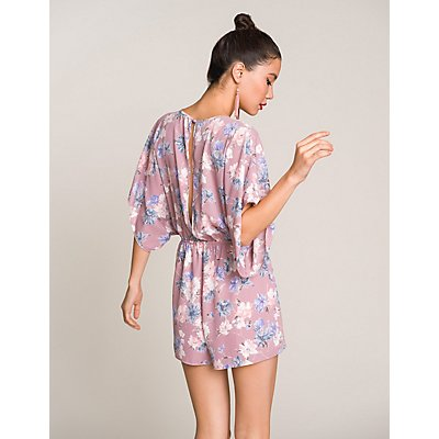 Floral Knotted Open-Back Romper