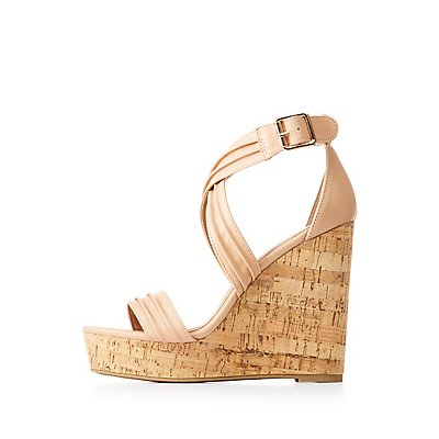 Ruched Ankle Wrap Wedges