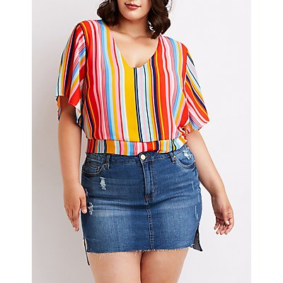 Plus Size Striped Open Back Top