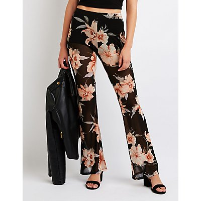 Floral Mesh Flare Pants
