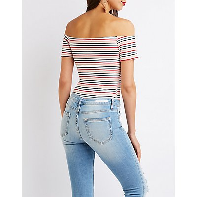 Striped Off The Shoulder Bodysuit