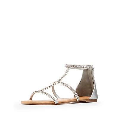 Crystal Gladiator Flat Sandals