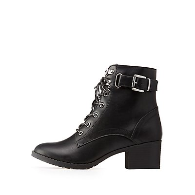 Buckled Combat Boots by Charlotte Russe