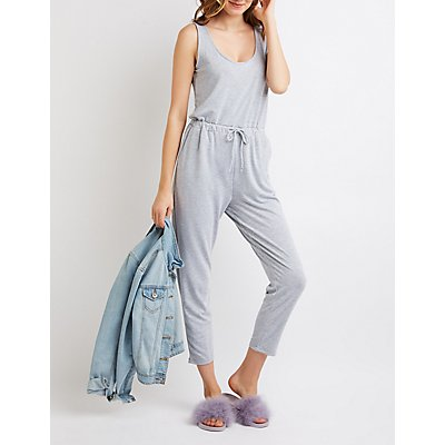 Scoop Neck Drawstring Jumpsuit