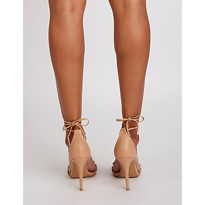 Crystal Lace Up Pumps