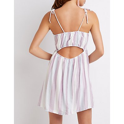 Striped Tie Front Shift Dress