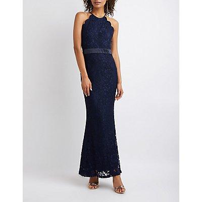Lace Scallop Bib Neck Maxi Dress