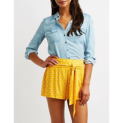 Floral Tie Front Shorts by Charlotte Russe