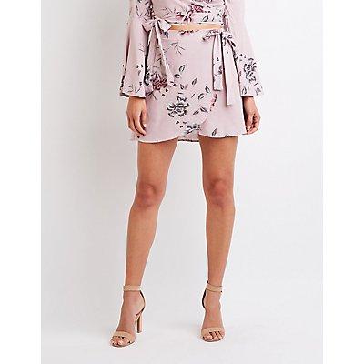Floral Wrap Tie Mini Skirt