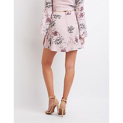 Floral Wrap Tie Mini Skirt