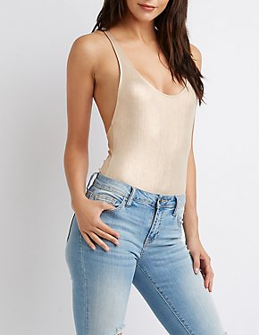 Metallic Scoop Back Bodysuit