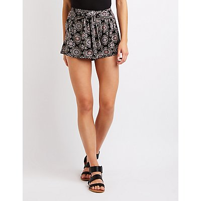 Paisley Tie Front Shorts
