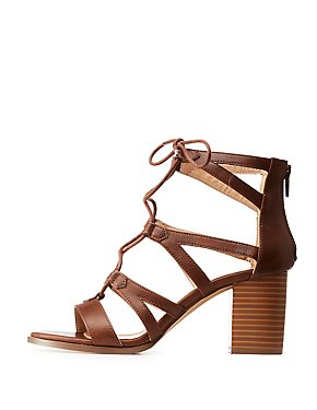 Caged Lace Up Sandals