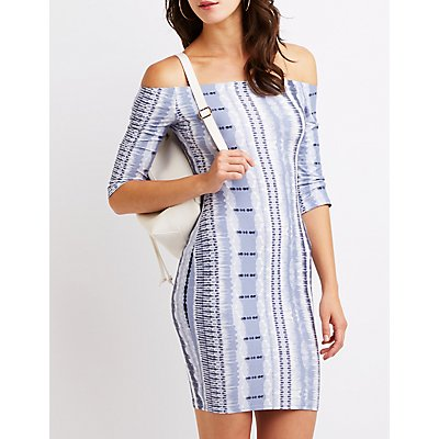 Printed Off The Shoulder Bodycon Dress